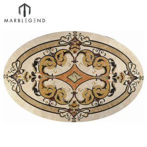 Luxury Pattern Vernazza Oval Marble Waterjet Flooring Medallion