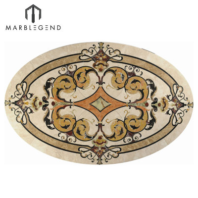 Luxury Pattern Vernazza Oval Marble Waterjet Flooring Medallion