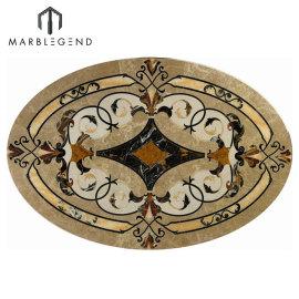 Diseño de medallón de pisos de chorro de agua de mármol ovalado estilo Vernazza