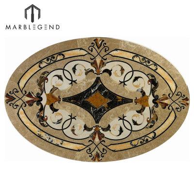 Vernazza Style Oval Marble Waterjet Flooring Medallion Design