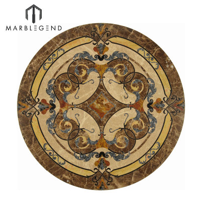 Vernazza Series Round Marble Inlay Marble Floor Medallion Tile For Sale