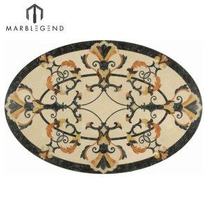 Venta caliente Provence estilo oval mármol Waterjet Medallón del suelo