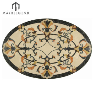 Hot Sale Provence Style Oval Marble Waterjet Flooring Medallion