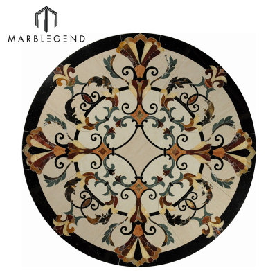 Provence Series Floor Design Round Medallion Waterjet Marble Inlay