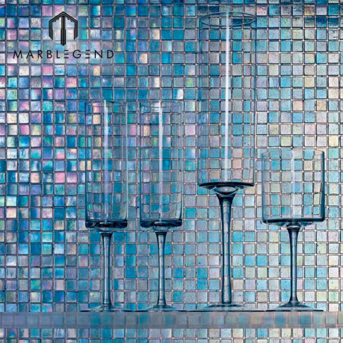 الصين فسيفساء التصميم الأزرق زجاج الفسيفساء صفائح البلاط لحمام السباحة
