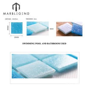 2x2cm Ice Jade Blue Glass Mosaic Swimming Pool Tile