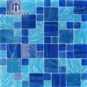 المكسيك تجمع باستخدام الكريستال والزجاج فسيفساء أزرق فاتح بلاط بركة السباحة