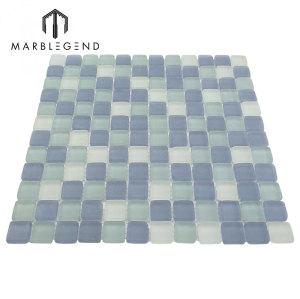 PFM Polished Crystal Glass Mosaic Light Blue Mosaic Swimming Pool Tile