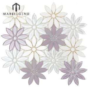 Bathroom And Kitchen Wall Decoration Waterjet Flower Glass Mosaic Tile