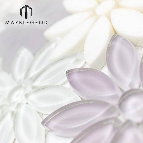 Cuarto de baño y decoración de la pared de la cocina Waterjet Flower Glass Mosaic Tile