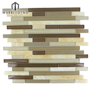 Tao coffee Random Strip Glass Mosaic Tile for Wall decoration