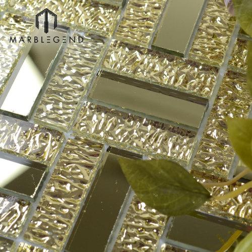 أنيقة التصميم الفاخر الذهبي كريستال زجاج فسيفساء مرآة بلاط الحائط
