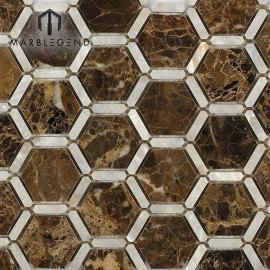 PFM Florentine Pearl Dark Emperador Marble Stone y Pearl Glass Mosaic Tile
