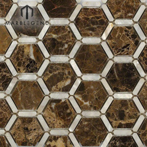 PFM Florentine Pearl Dark Emperador Marble Stone And Pearl Glass Mosaic Tile