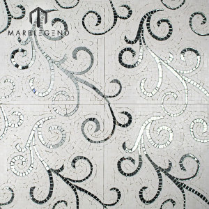 Mix Color Florita Pattern Polished Pattern Marble Stone Mosaic Tlie
