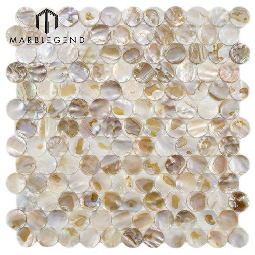 Kitchen Backsplash Tile Penny Round Mother Of Pearl Shell Mosaic Tile