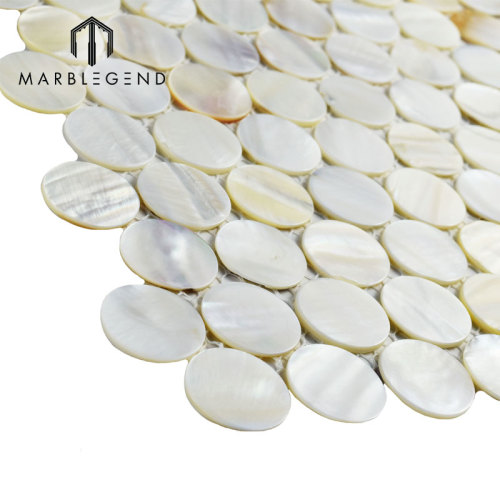 Baño Espejo Pared Backsplash Blanco fresco Madre de perla Shell mosaico