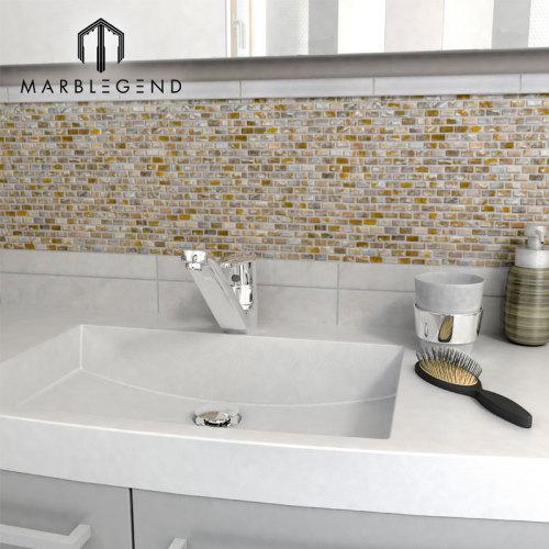Azulejo de mosaico de la concha marina de la raya del Backsplash de la pared de la cocina Azulejo del mosaico del Seashell