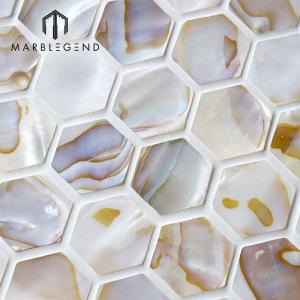 Natural Hexagon Fresh Water Seashell Mosaic Bathroom Wall Sticker Shell Mosaic
