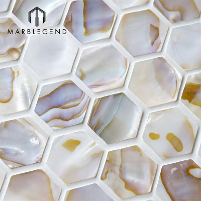 Natural Hexagon Fresh Water Seashell Mosaic Bathroom Wall Sticker Shell Mosaic