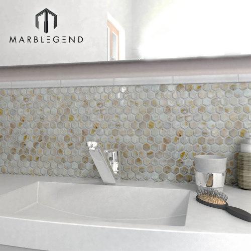 Hexágono natural Agua dulce Concha marina Mosaico Baño Etiqueta de la pared Mosaico de Shell