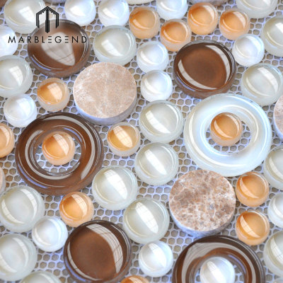 Mezcla de piedra y vidrio Hojas de azulejo de mosaico Mármol Baño Pared Cocina Backsplash