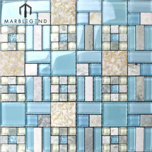 Natural Marble Bathroom Shower Wall Tiles Blue Glass And Stone Blend Mosaic