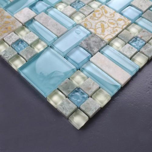 الرخام الطبيعي حمام دش الجدار الزجاجي الأزرق الزجاج والحجر مزيج الفسيفساء