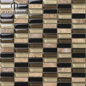 Natural Stone Marble And Glass Mix Mosaic Tile Sheets Interlocking Backsplash Tile