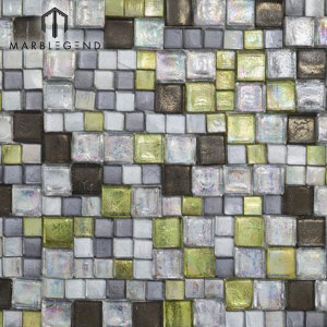 Polished Natural Structura Olive Stone Glass Tile Mix Mosaic Tile For Wall Decoration