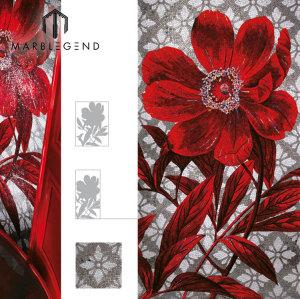 الحديث تصميم جديد رائع زهرة حمراء الزجاج فسيفساء بلاط الحائط فن الفسيفساء جدارية