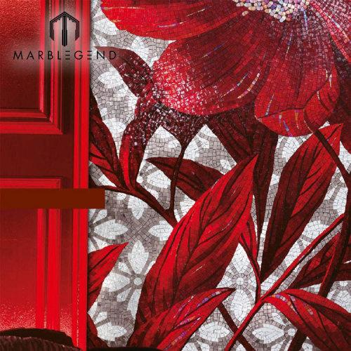 Nuevo diseño moderno magnífico mosaico de mosaico del arte del azulejo de la pared del mosaico de cristal de la flor roja