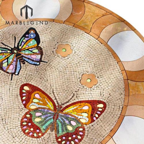 Patrón de mariposa Mármol Mosaico Medallón Azulejo Arte Mosaico Piso Azulejo