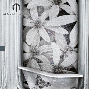 Картина белого цветка мозаики искусства стеклянной ванной комнаты нутряной стены стены PFM изготовленная на заказ