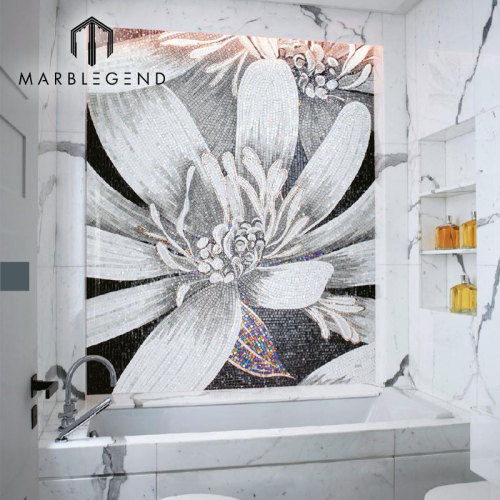 PFM مخصص الداخلية بلاط الحائط الحمام زجاج فن الفسيفساء الأبيض زهرة نمط