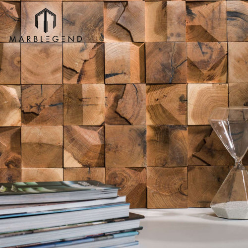 Ancient Brown Color Wood Mosaic Wall Tile Sheets Antic Colonial