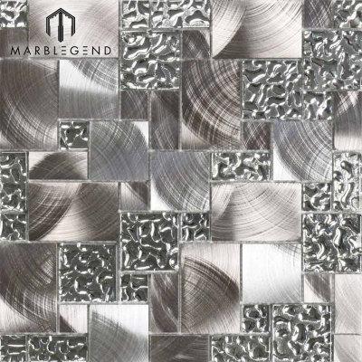 Vidrio venitiano de cristal caliente y azulejo de mosaico de metal de acero inoxidable de plata