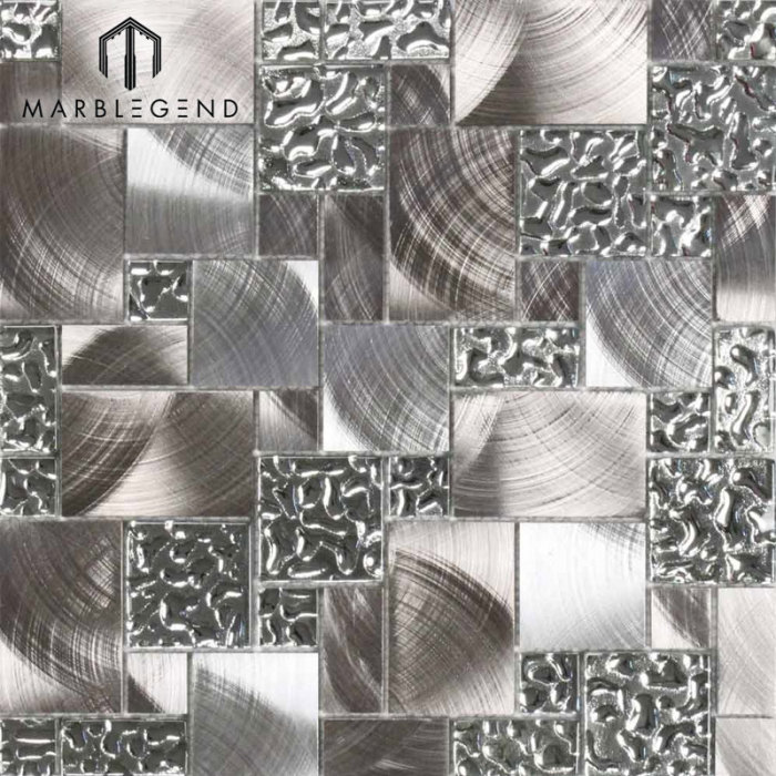 Hot Crystal Venitian Glass And Silver Stainless Steel Metal Mosaic Tile