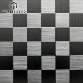 Azulejo de cocina de pared cuadrada Placa para salpicaduras Plata Aluminio cepillado Azulejos de mosaico de metal