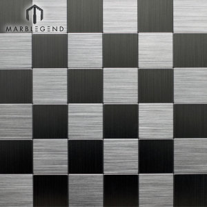 Square Wall Kitchen Backsplash Tile Silver Brushed Aluminum Metal Mosaic Tiles