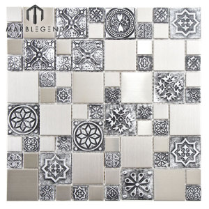 PFM Backsplash Decor Random Size Stainless Steels Metal Mosaic Tile