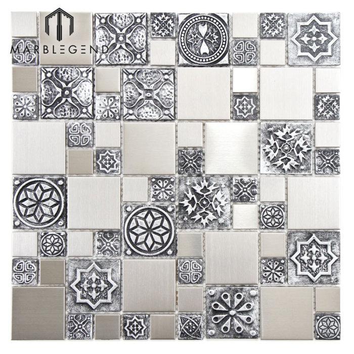 PFM Backsplash Decor Random Size Stainless Steels Metal Mosaic Tile