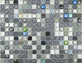 Blue mix white glass mosaic
