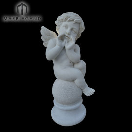 رهيبة نحت منحوتة تمثال الرخام الأبيض الملاك المفعمة بالحيوية