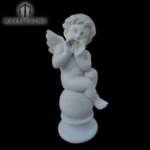 Awesome Hand Carved Sculpture Vivid Angel White Marble Statue
