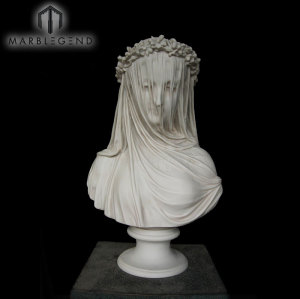 Awesome White Marble Bride Statue Lady Bust Portrait Sculpture