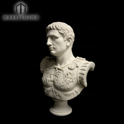 Hand Carved Art Figure Stone Sculpture Marble Bust Statue Of Augustus Caesar