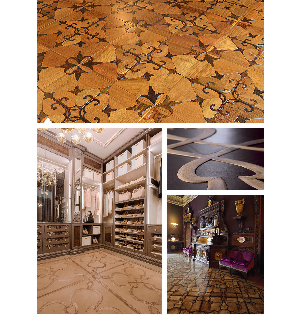 Rhombus Design Marquetry Wood Inlay Solid Wood Parquet