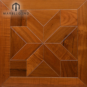 Lobby Flower Tiles Design Walnut Laminate Wood Inlay Parquet Flooring