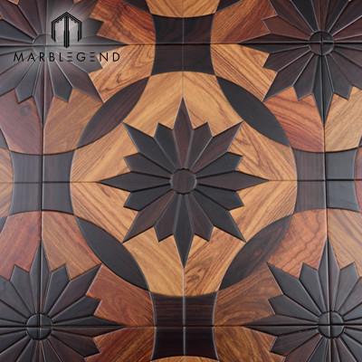 Azulejos de suelo de parquet de madera de mosaico Kosso de incrustaciones de madera de estilo europeo Santos